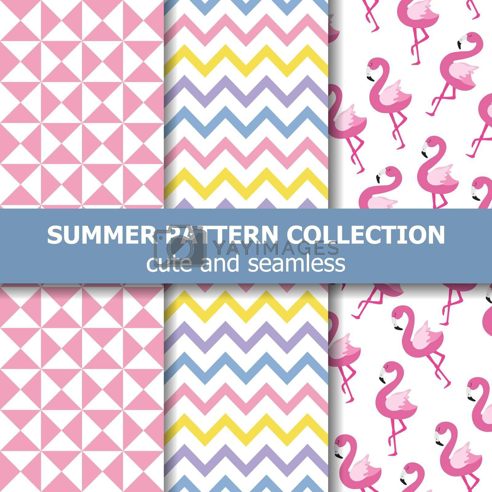 Tropical summer pattern collection. Flamingo theme, Summer banner. Vector