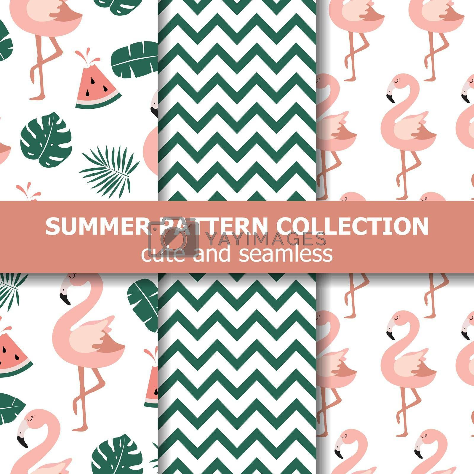 Royalty free image of Summer pattern collection. Flamingo and watermelon theme, Summer banner. by balasoiu
