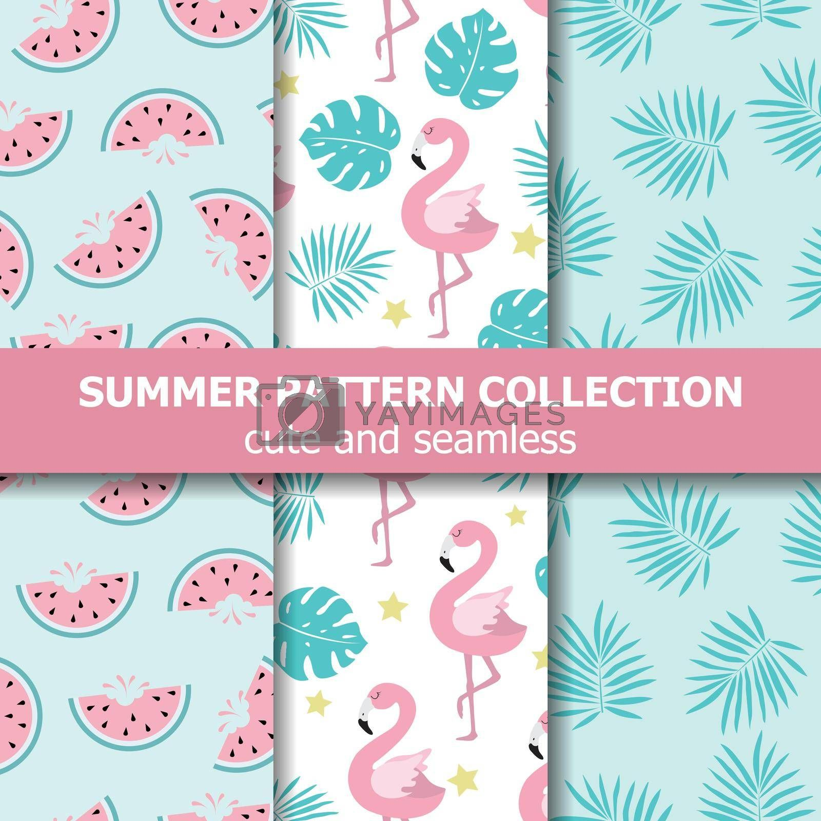 Exotic summer pattern collection. Flamingo and watermelon theme, Summer banner. Vector