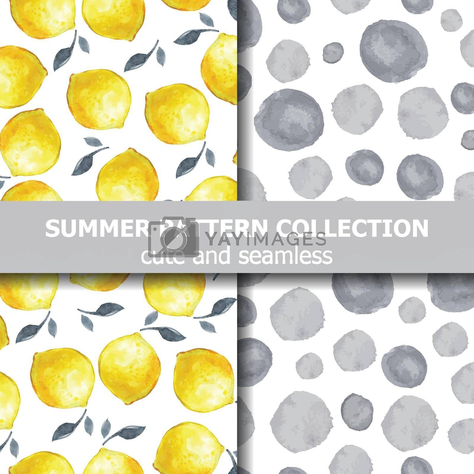 Tasty summer pattern collection with watercolor lemons and dots. Summer banner. Vector
