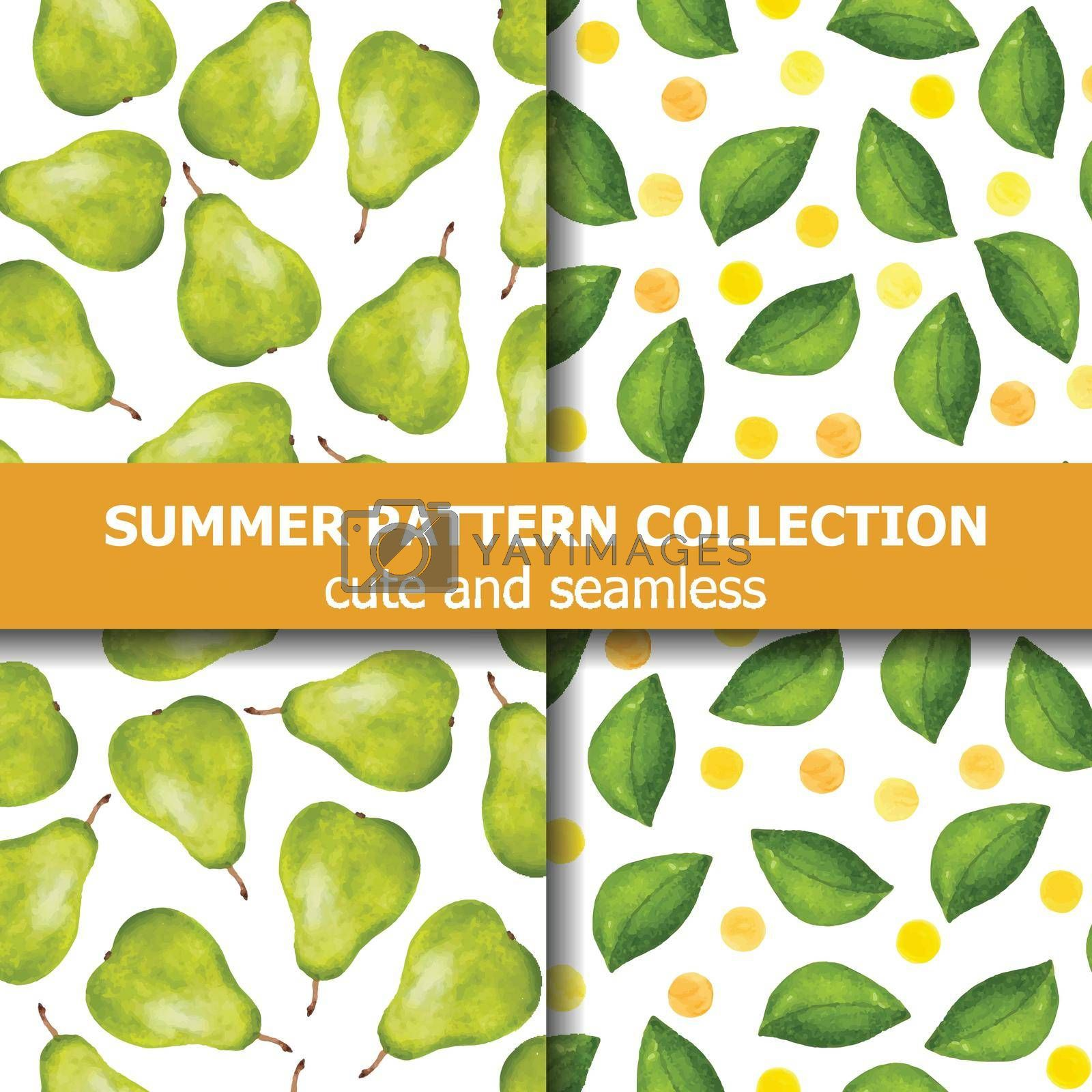 Royalty free image of Delicious summer pattern collection with watercolor pears and dots. Summer banner. by balasoiu