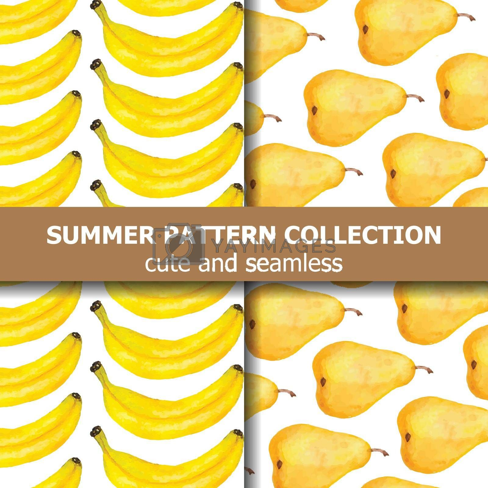 Exotic pattern collection with watercolor pears and bananas. Summer banner. Vector