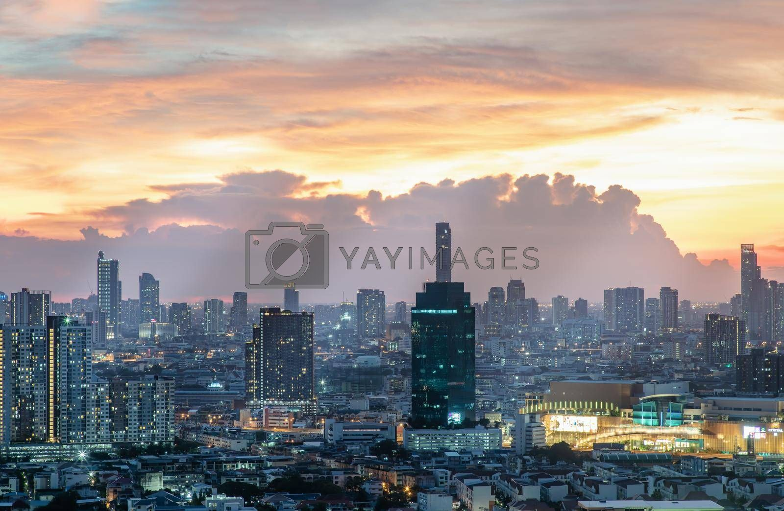 Bangkok, Thailand - Jun 02, 2021: Aerial view of Beautiful scenery view of Skyscraper Evening time Sunset creates relaxing feeling for the rest of the day. Selective focus.
