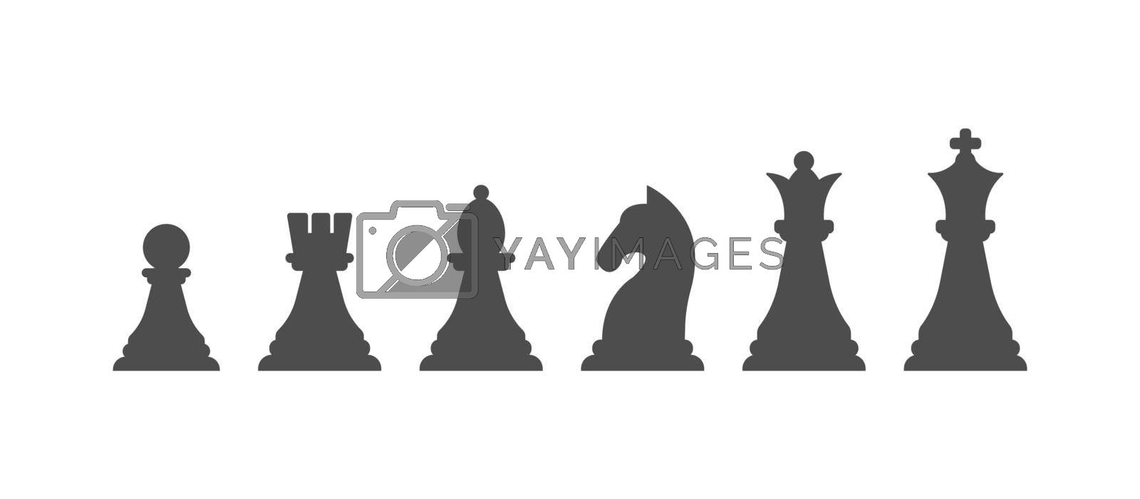 set of chess pieces, a filled contour. Vector icon isolated on a white background. Flat design.