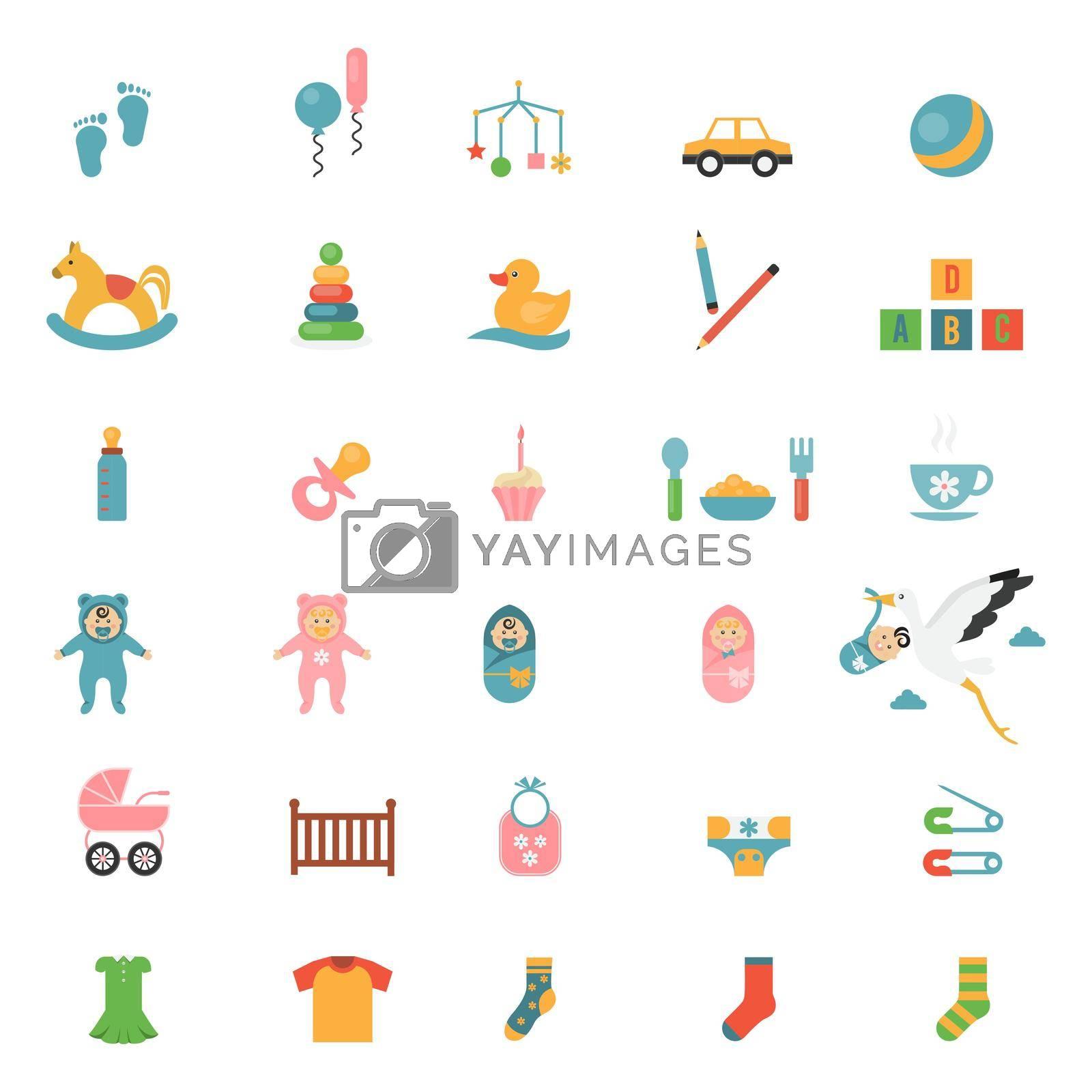 Royalty free image of Babies toys icons by mstjahanara