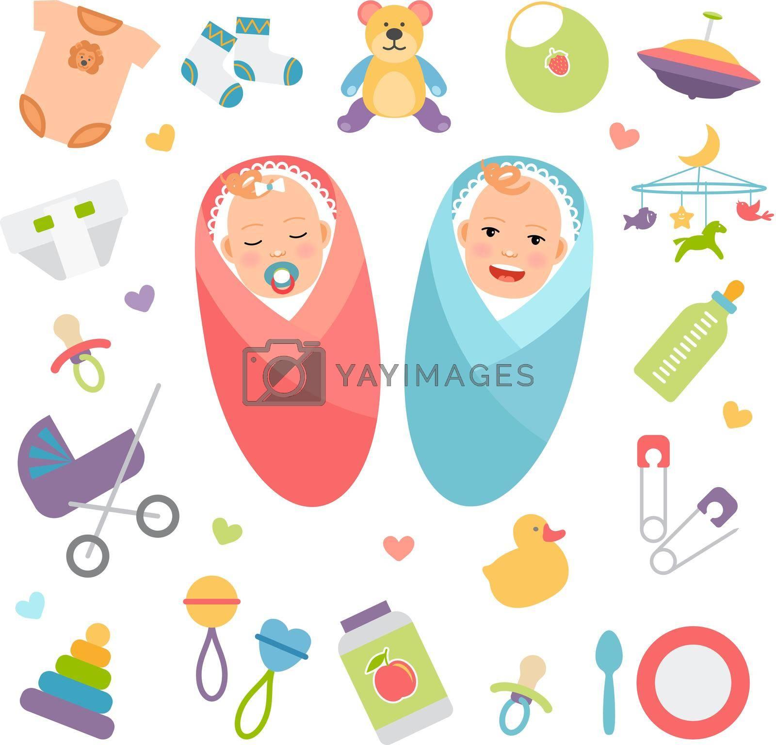 Royalty free image of Vector babies and baby products by mstjahanara