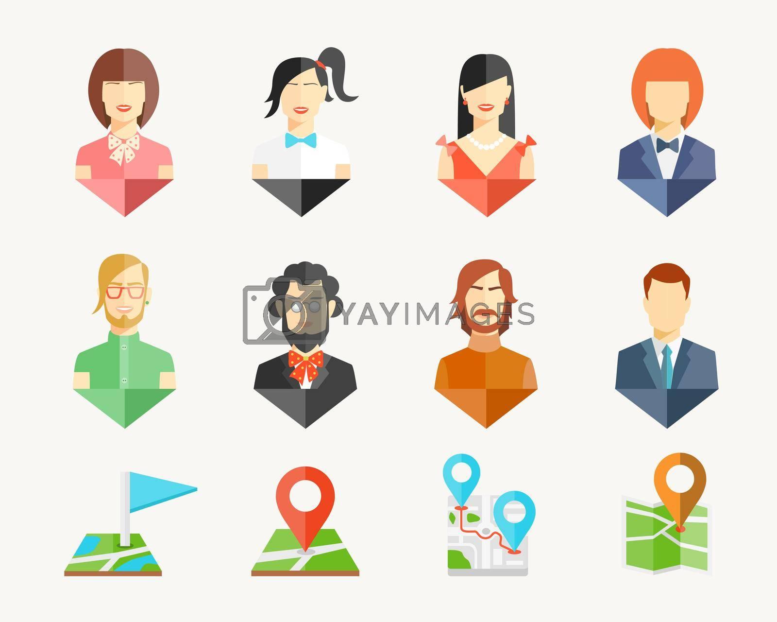 Royalty free image of People avatar pins by mstjahanara