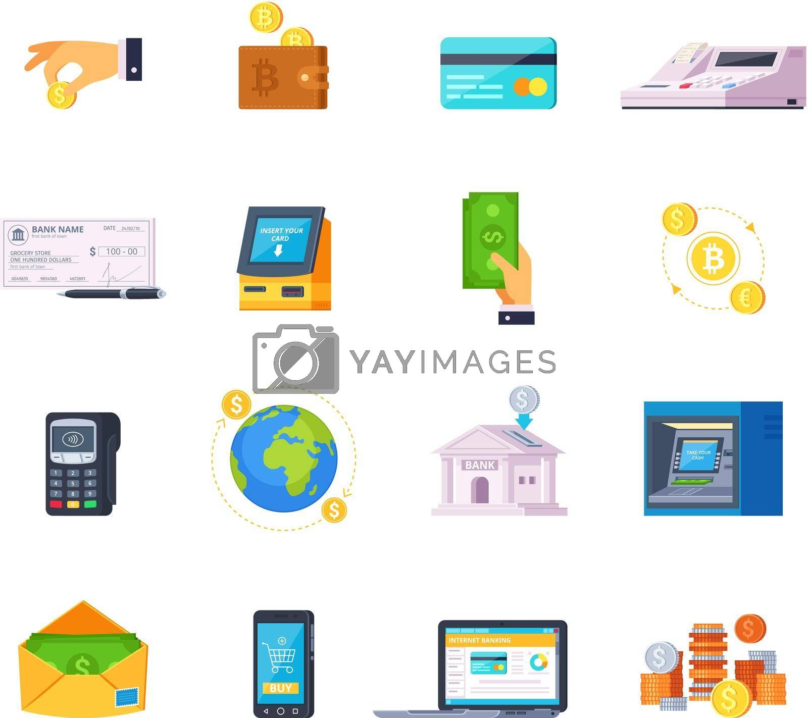 Royalty free image of Financial Technology Icons by mstjahanara