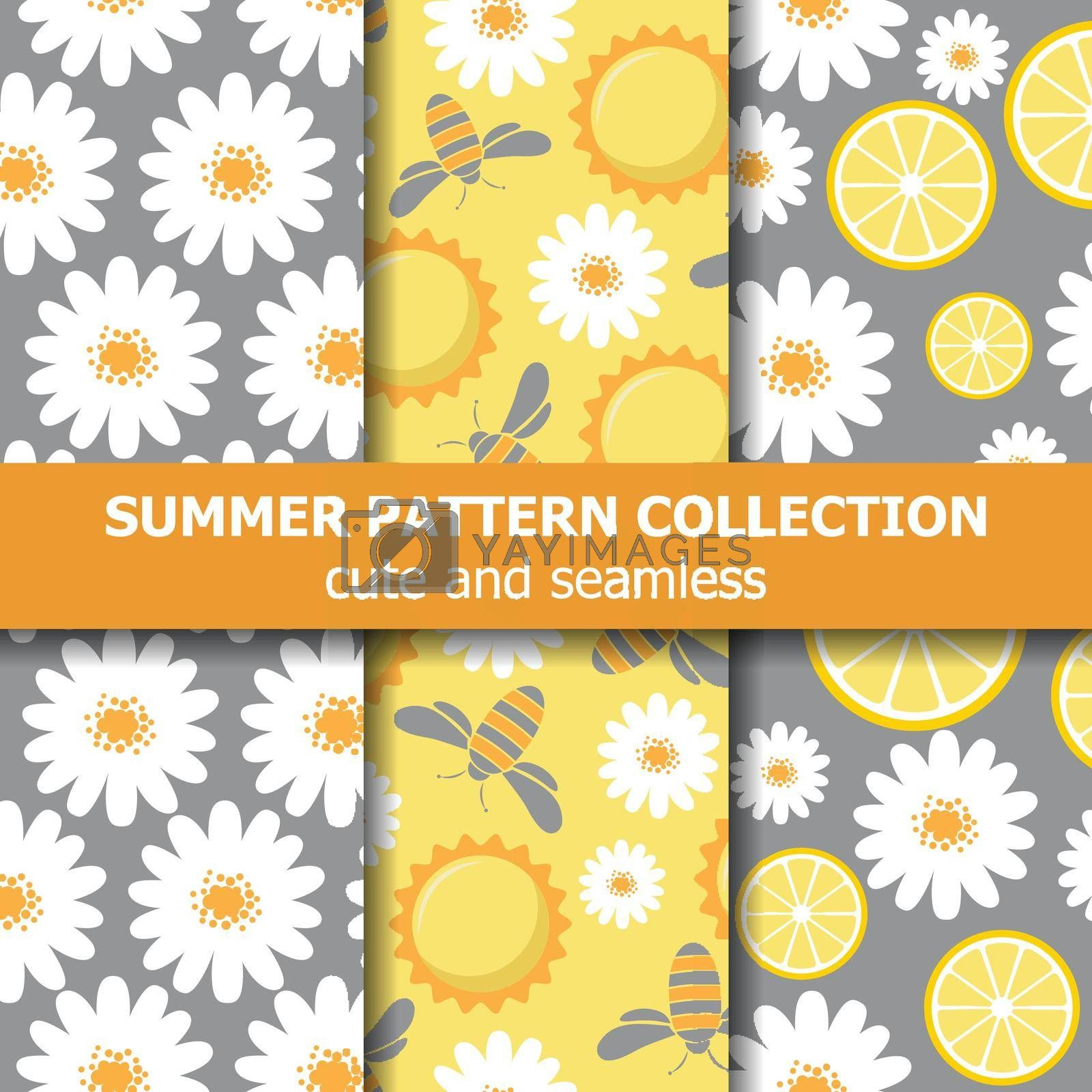 Beautiful pattern collection with daisies, lemons, bees and sun. Summer banner collection. Vector