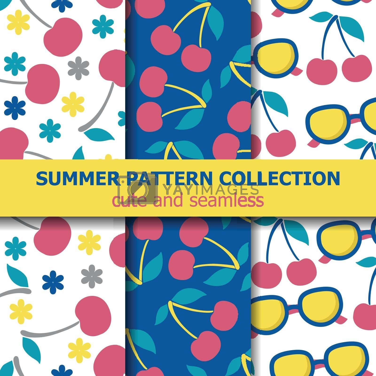 Royalty free image of Summer pattern collection with cherries and sunglasses. Summer banner. by balasoiu
