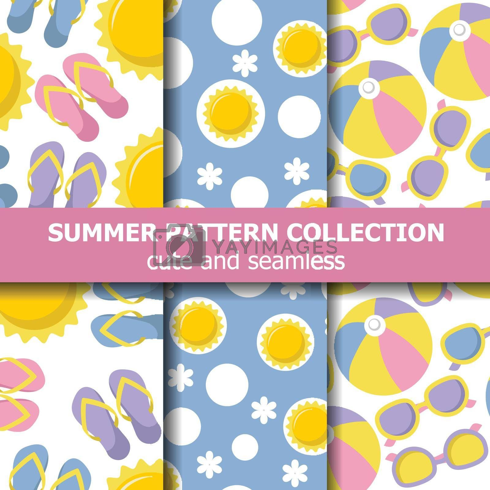Summer pattern collection with beach theme. Summer banner. Vector
