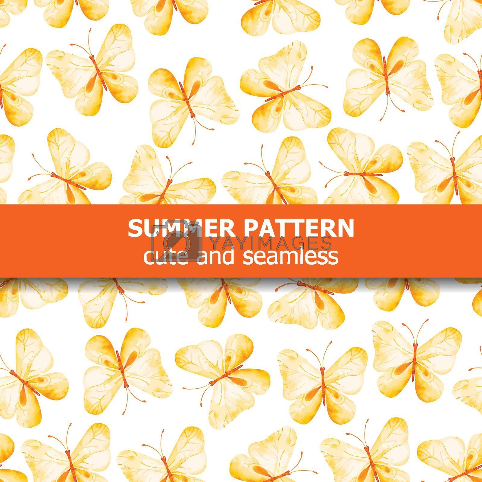 Watercolor pattern with yellow butterflie. Summer banner. Vector