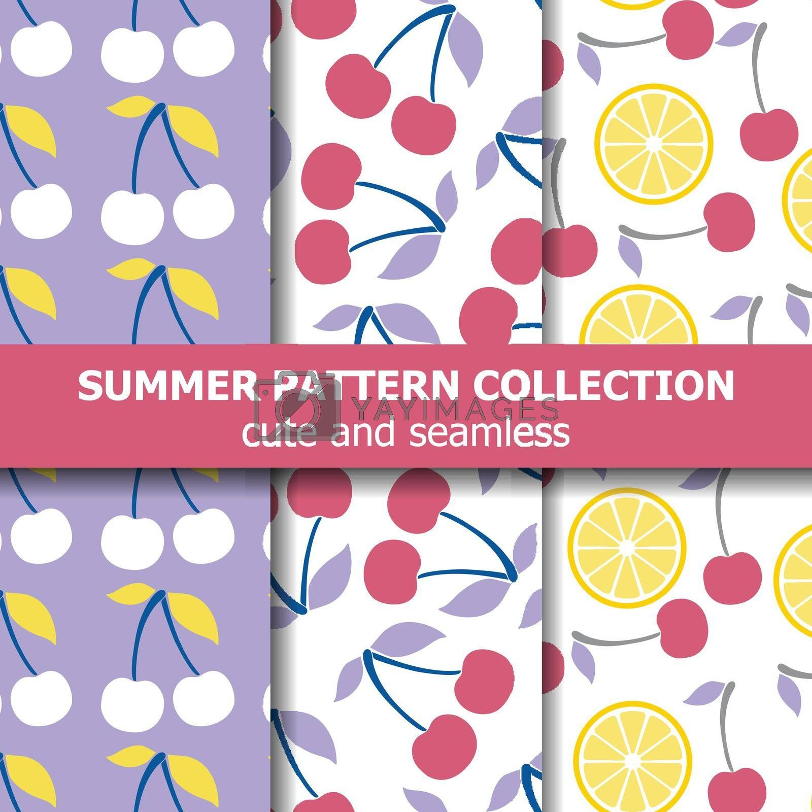 Royalty free image of Delicious pattern collection with cherries and lemons. Summer banner. by balasoiu