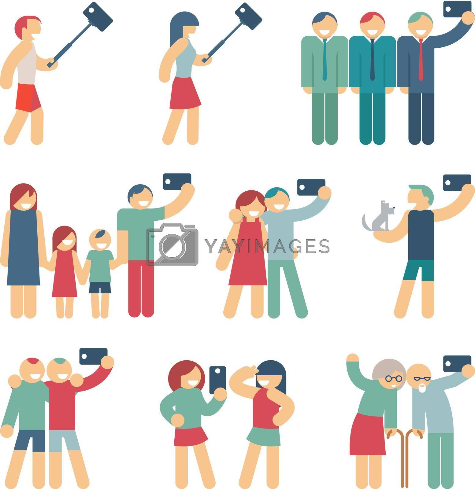 Royalty free image of Selfie figures of people by mstjahanara