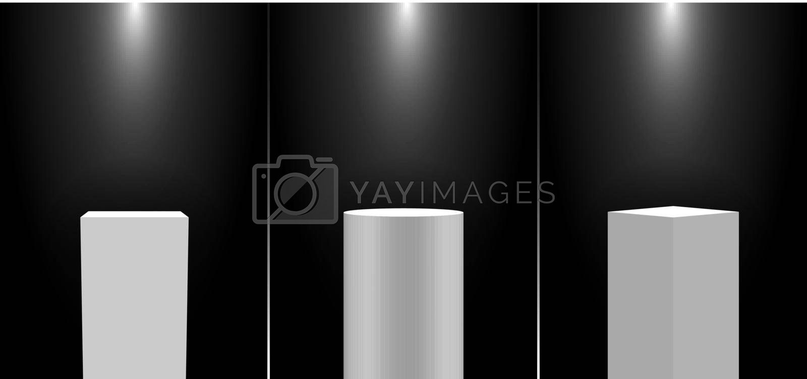 Royalty free image of Set of 3D realistic white pedestal podium exhibition display gallery blank product stands on black background with lighting by phochi