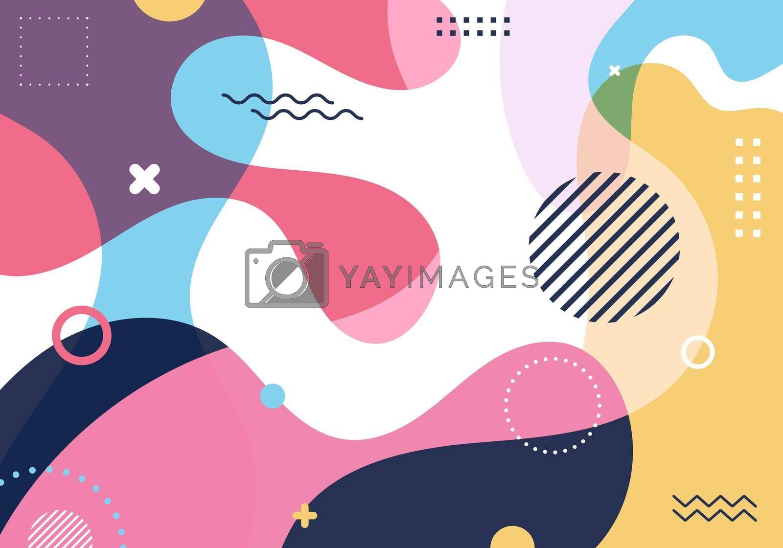 Royalty free image of Abstract fluid shape colorful splash background with geometric shapes elements pattern in retro 80s-90s style by phochi