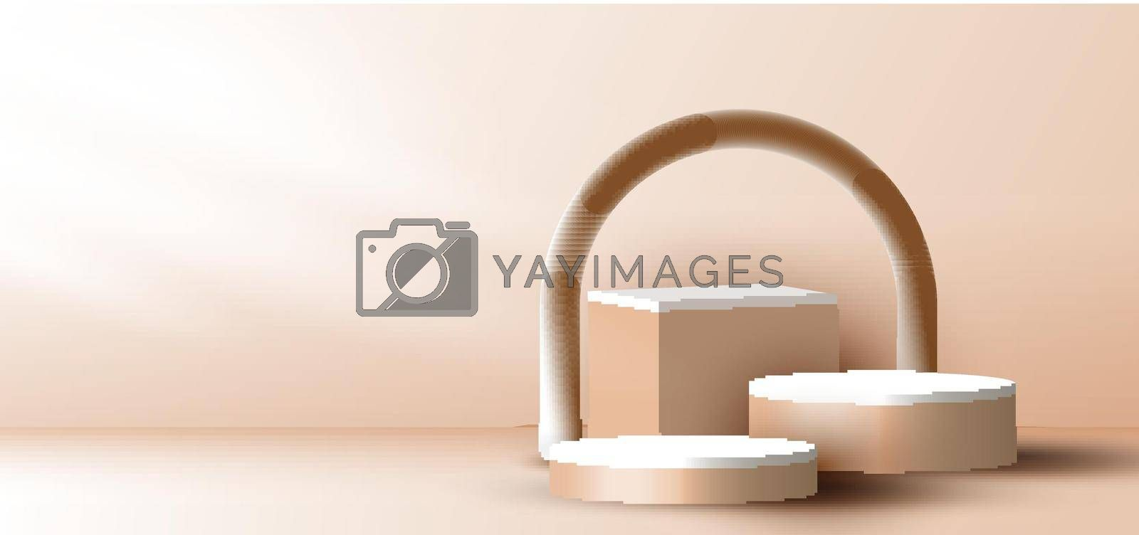 Royalty free image of 3D realistic elegant brown geometric cylinder, cube on layers rounded backdrop on beige background with lighting by phochi