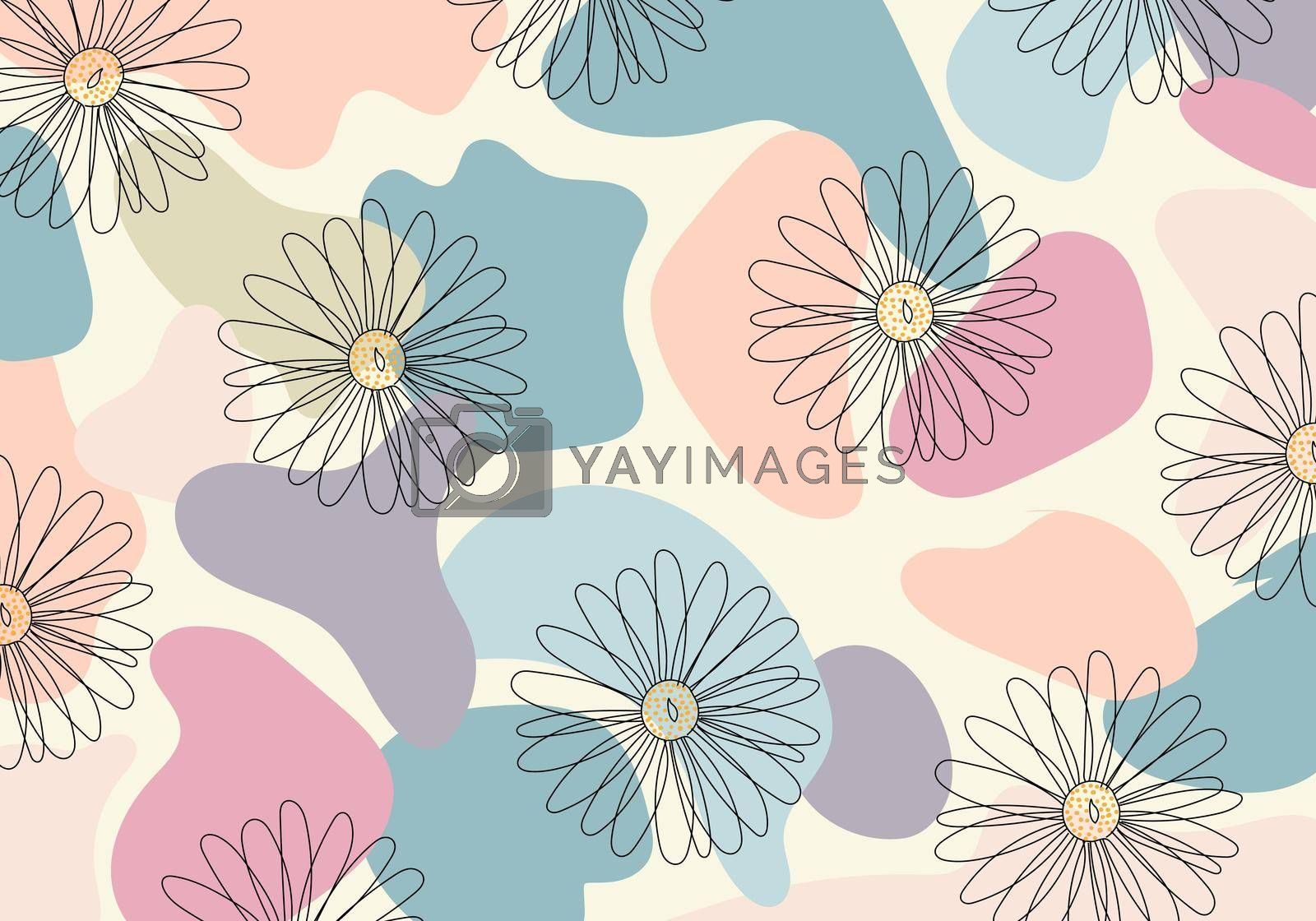 Royalty free image of Abstract pattern hand drawn line flower in organic shape pastel color background by phochi