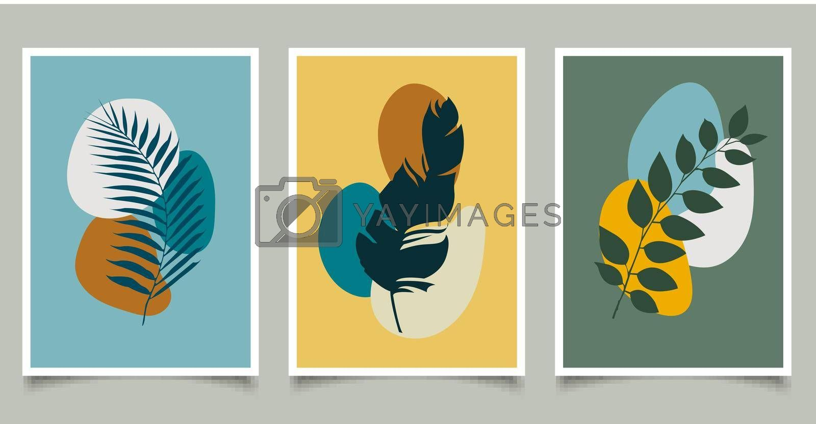 Royalty free image of Set of botanical natural wall art foliage leaf line abstract art design drawing shape minimal style by phochi