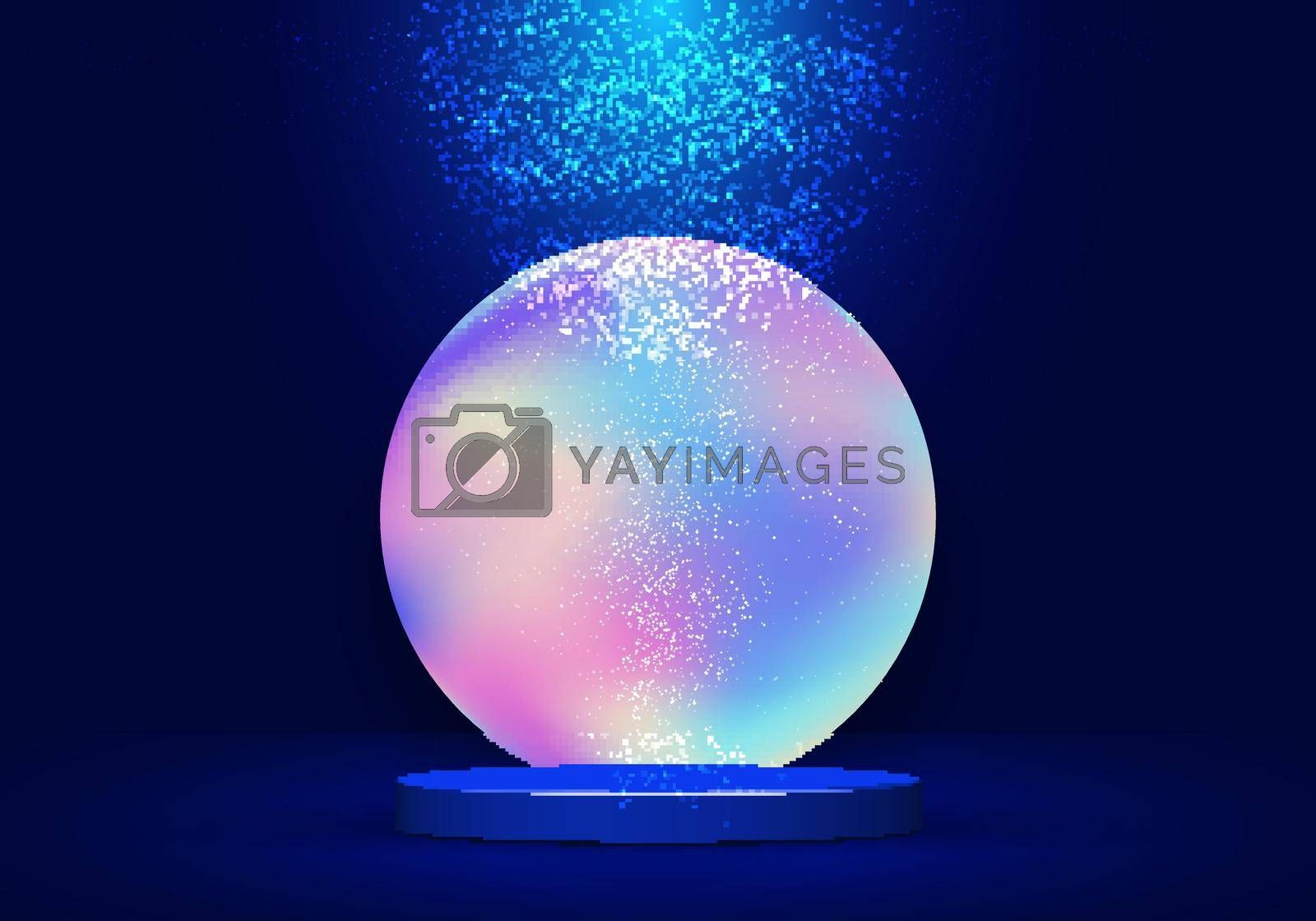Royalty free image of 3D realistic blue pedestal with vibrant fluid circle backdrop and lighting dust on dark blue background by phochi