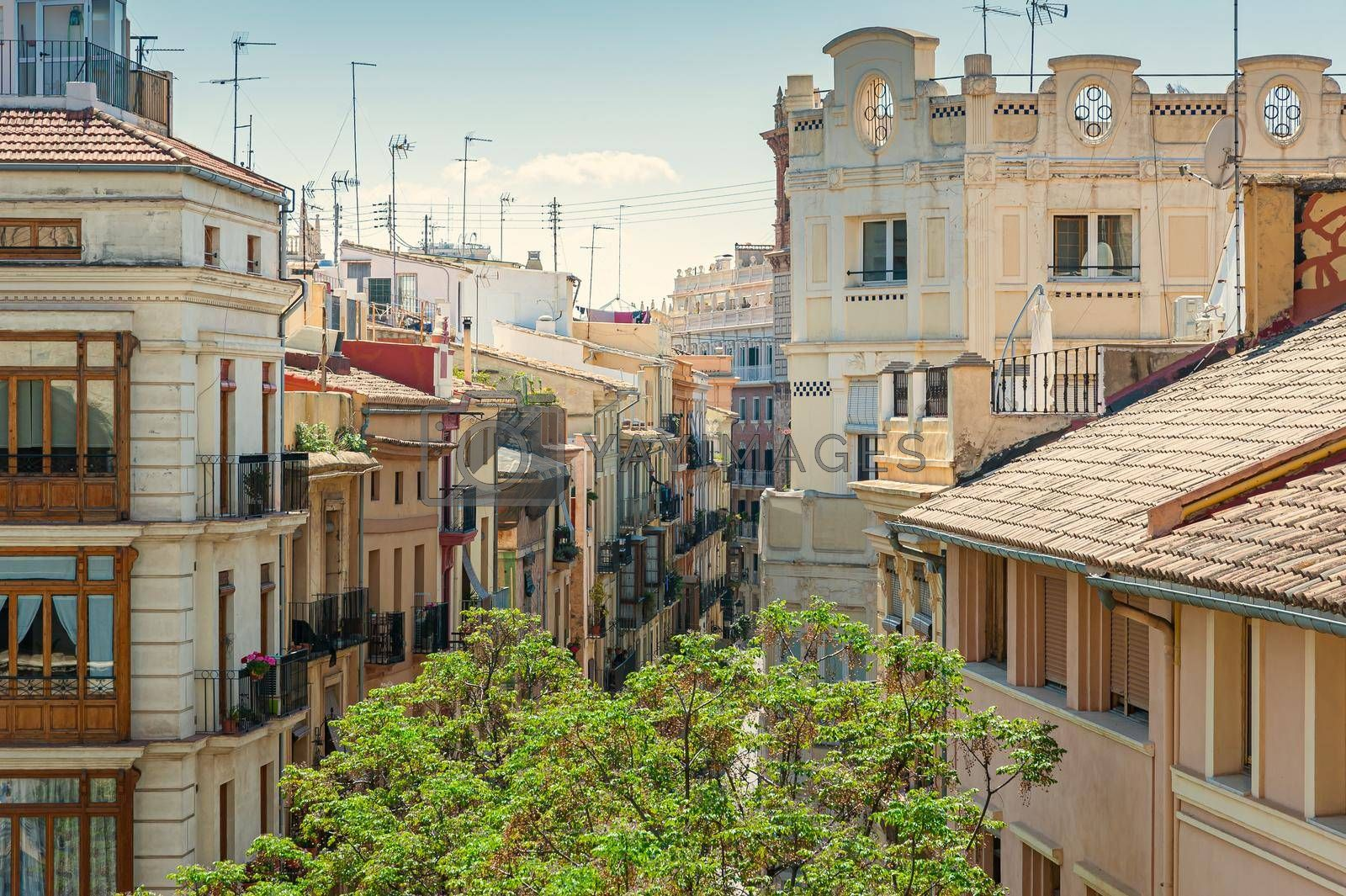 View at Valencia downtown with rooftops of residential dwellings. Valencia downtown. Spain. Europe.