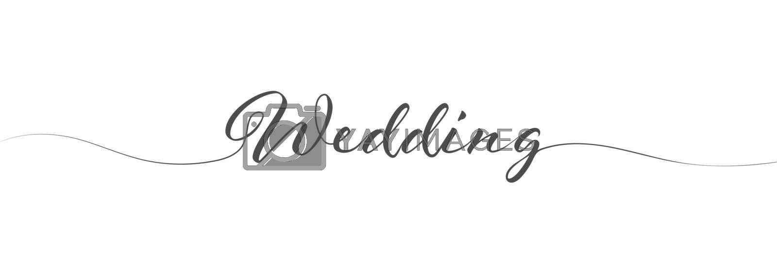 Calligraphy lettering WEDDING in one solid line on a white background for postcards, posters, invitations and creative design. Simple Style