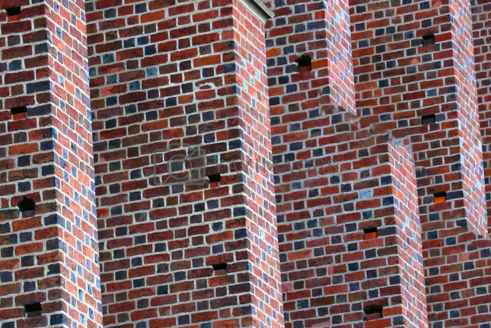 Royalty free image of Close-up on the wall of a red brick building. Background. by kip02kas