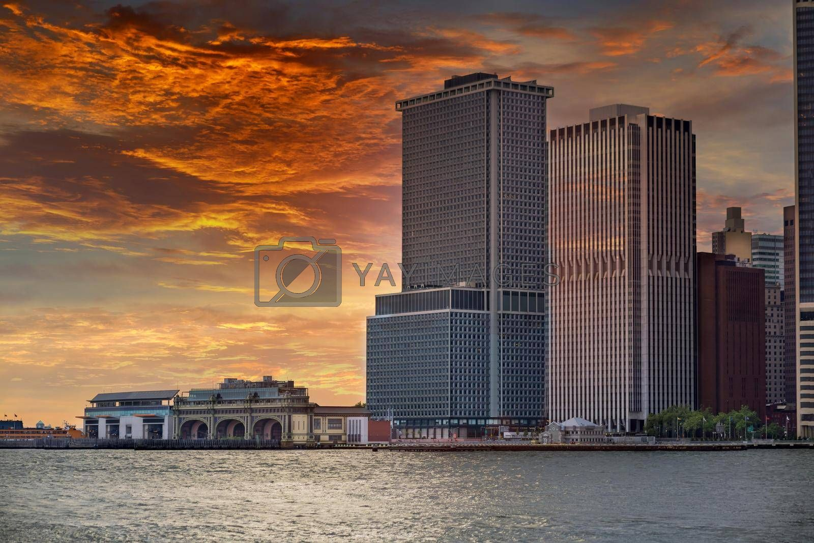 Whitehall Ferry Terminal Docks on the way from Staten Island NY NJ USA in sunset view