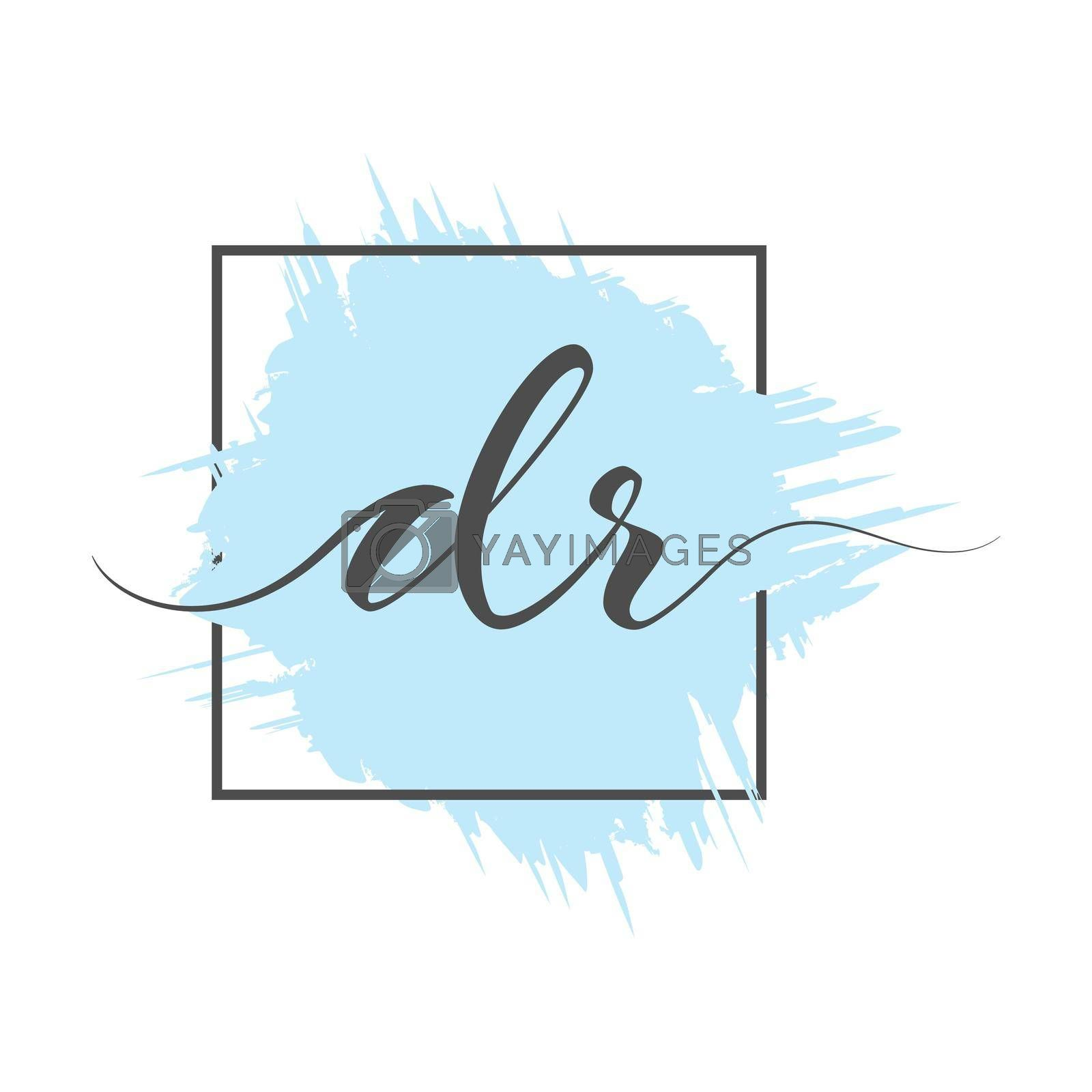 calligraphic lowercase letters DR are written in a solid line on a colored background in a frame. Vector illustration. Simple Style
