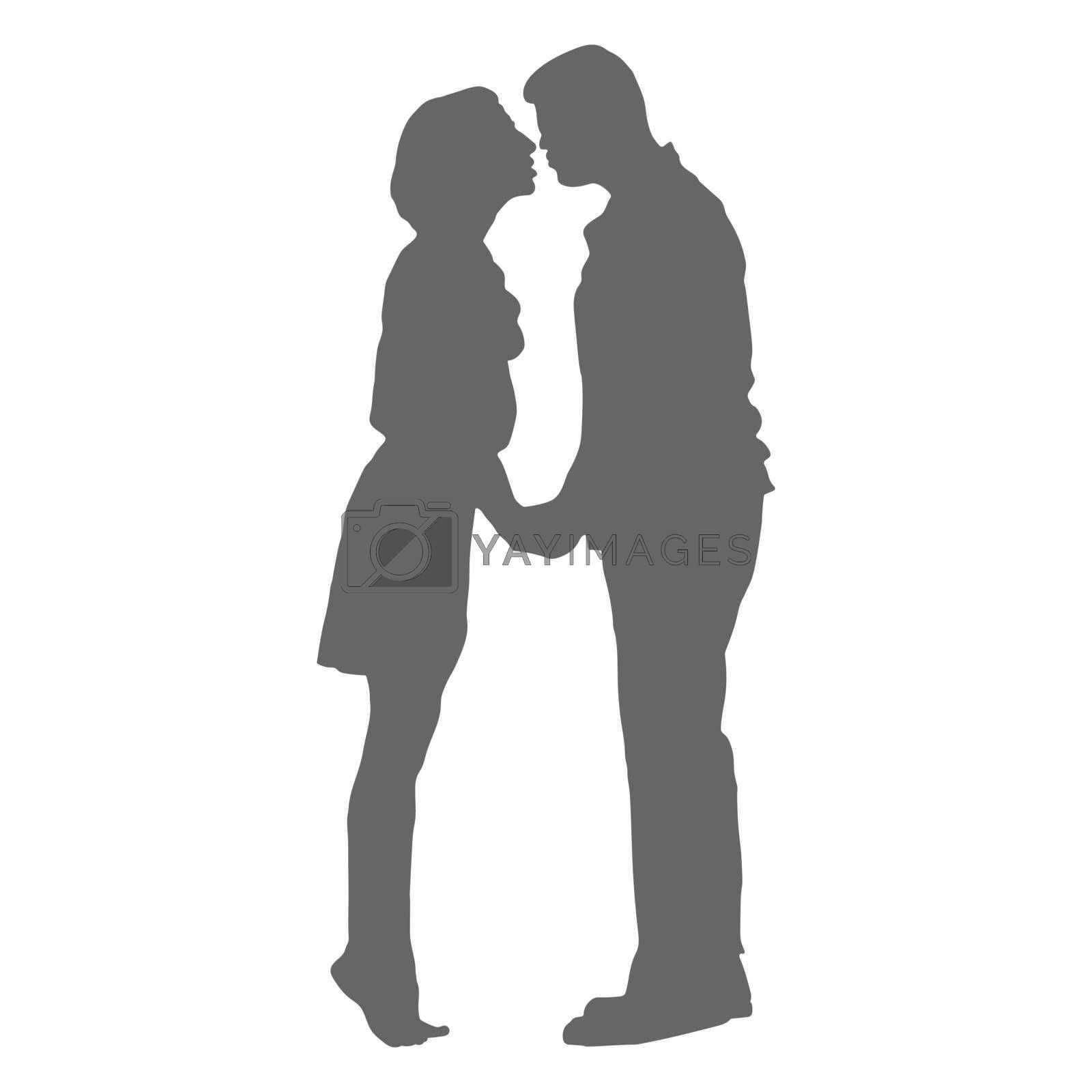 A filled silhouette of a couple in love. Silhouette of a man and a woman for creative design. Simple Style
