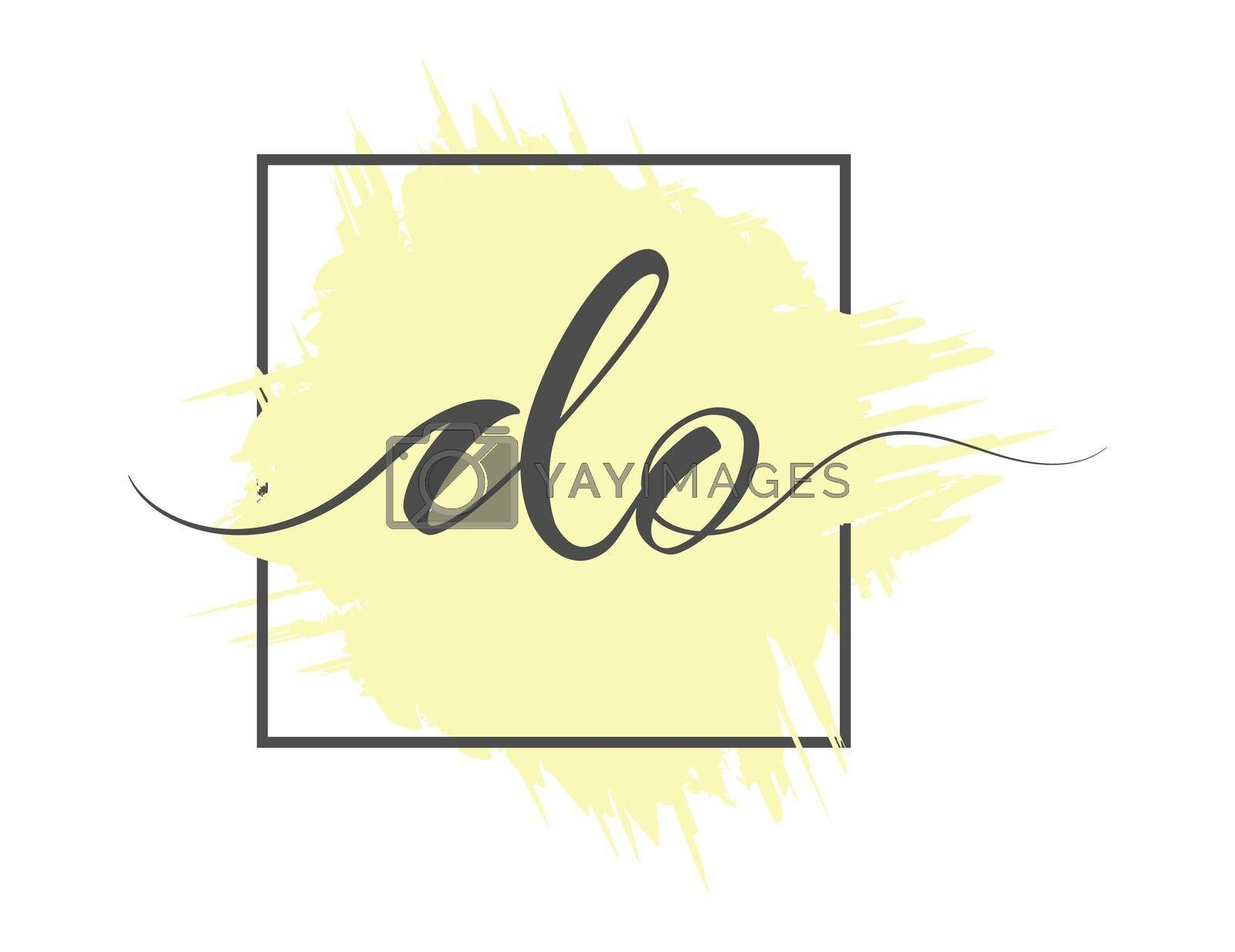calligraphic lowercase letters DO are written in a solid line on a colored background in a frame. Vector illustration. Simple Style