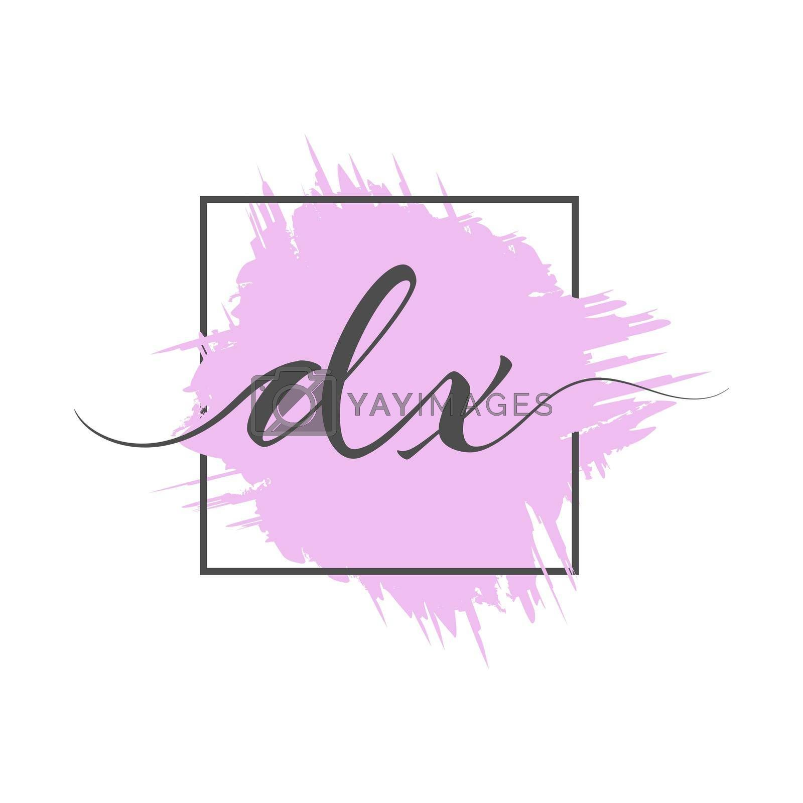 calligraphic lowercase letters DX are written in a solid line on a colored background in a frame. Vector illustration. Simple Style