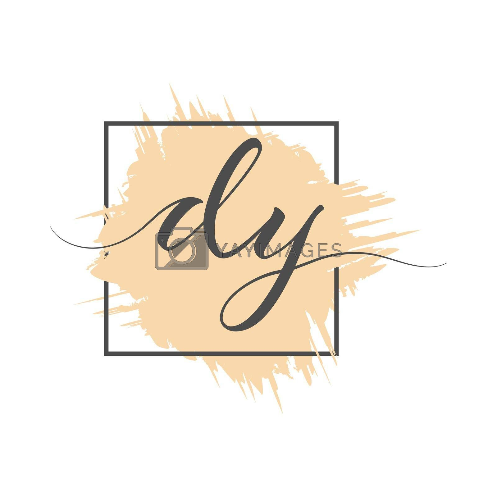 calligraphic lowercase letters DY are written in a solid line on a colored background in a frame. Vector illustration. Simple Style