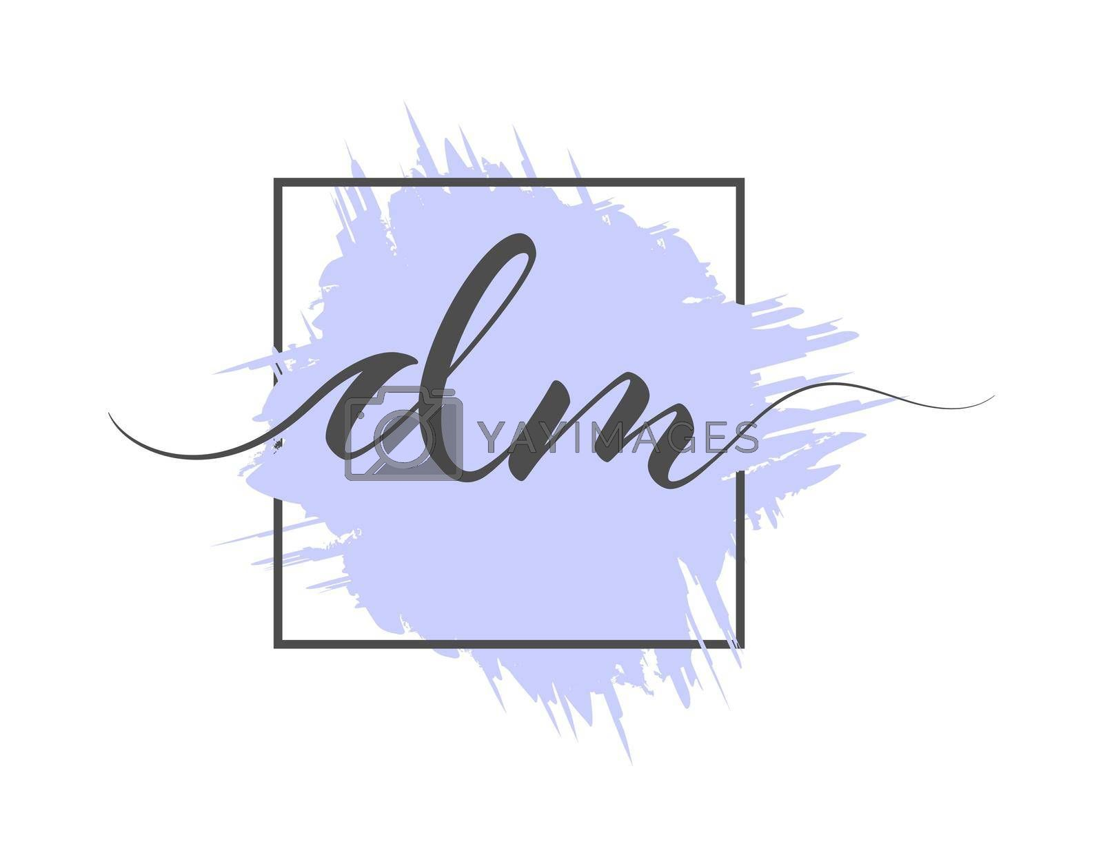 calligraphic lowercase letters DM are written in a solid line on a colored background in a frame. Vector illustration. Simple Style