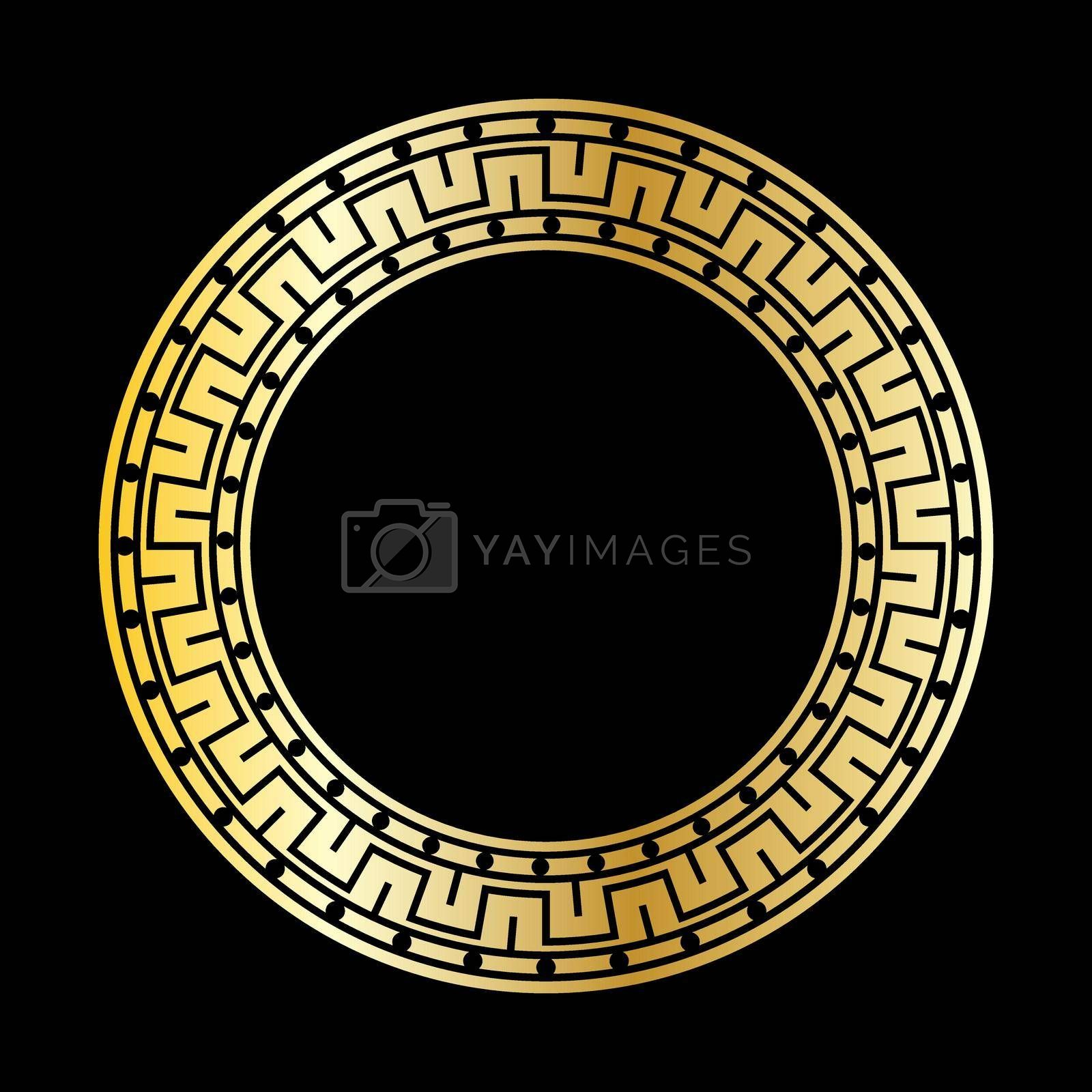 Gold decorative round frame in antique style. Template for the design of postcards, invitation banners, books, textiles, engraving, wood products, scrapbooking and creativity. Flat Style