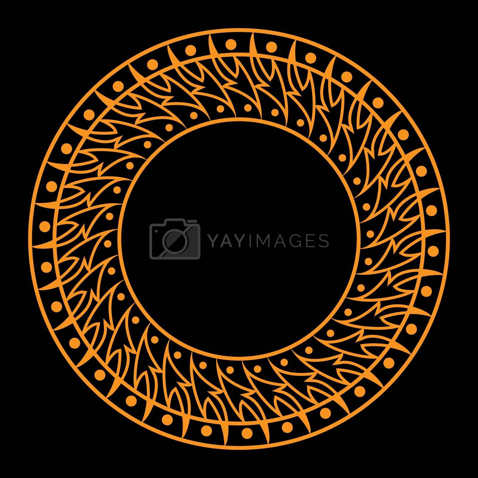Gold decorative round frame. Template for the design of postcards, invitation banners, books, textiles, engraving, wood products, scrapbooking and creativity. Flat Style