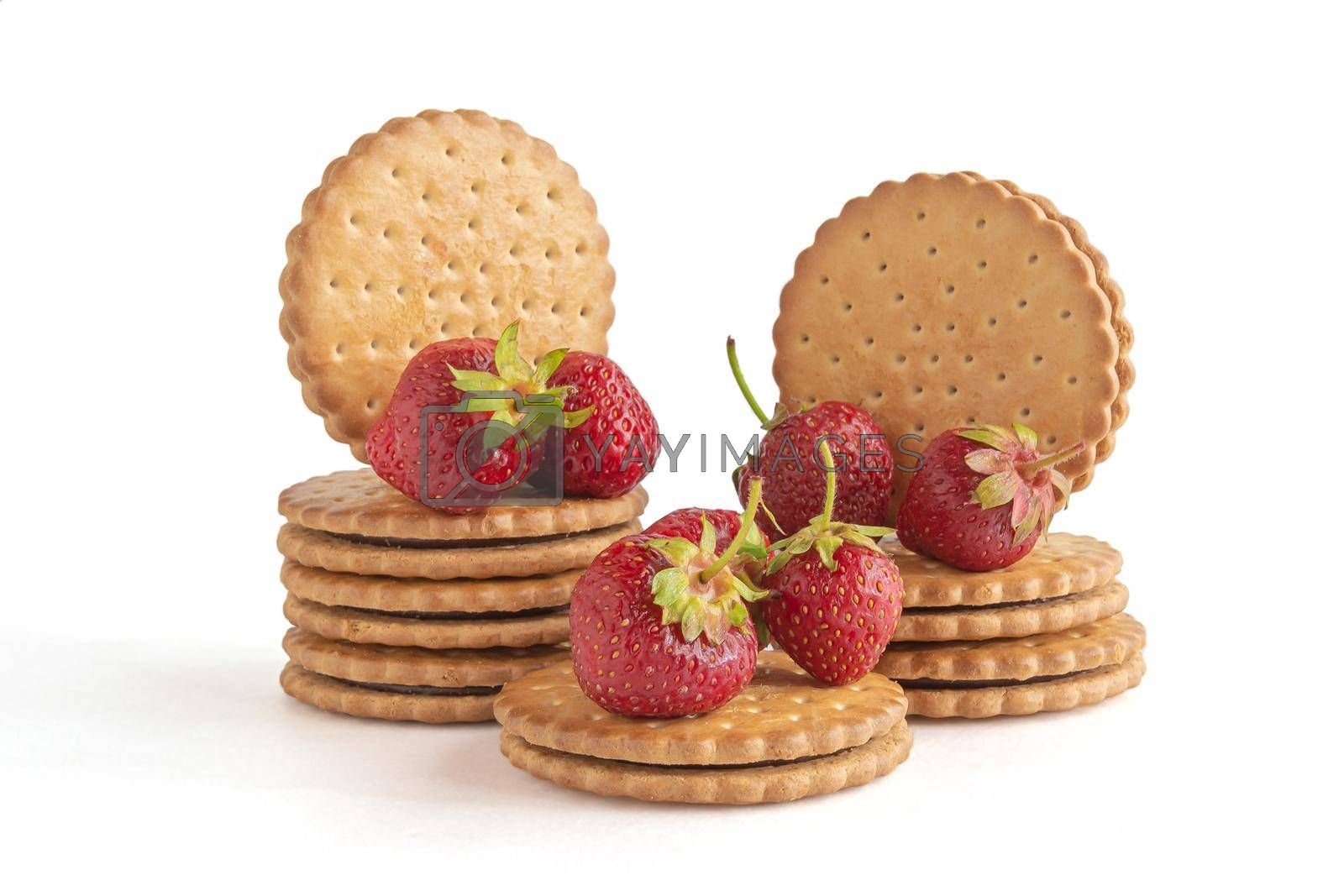 Cookies and berries of a ripe lover. Items isolated on white background. Stock photography.