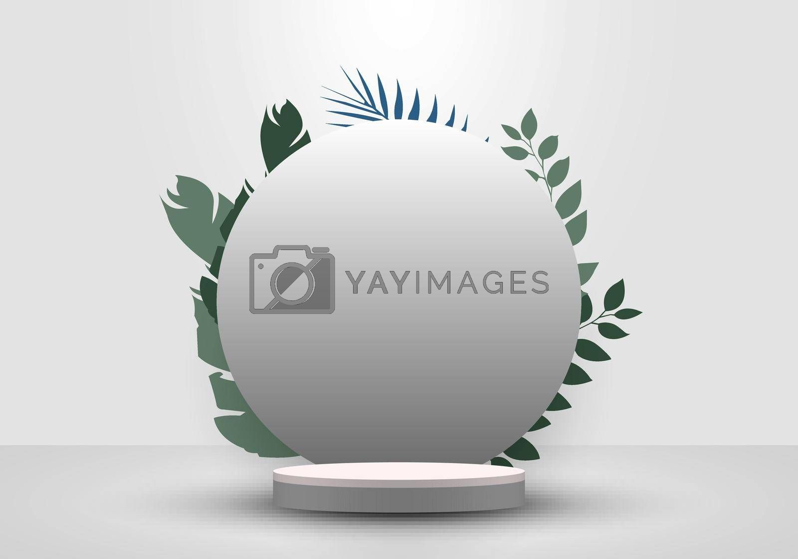 Royalty free image of 3D realistic cylinder podium minimal scene and circle backdrop in white background with tropical green leaves by phochi