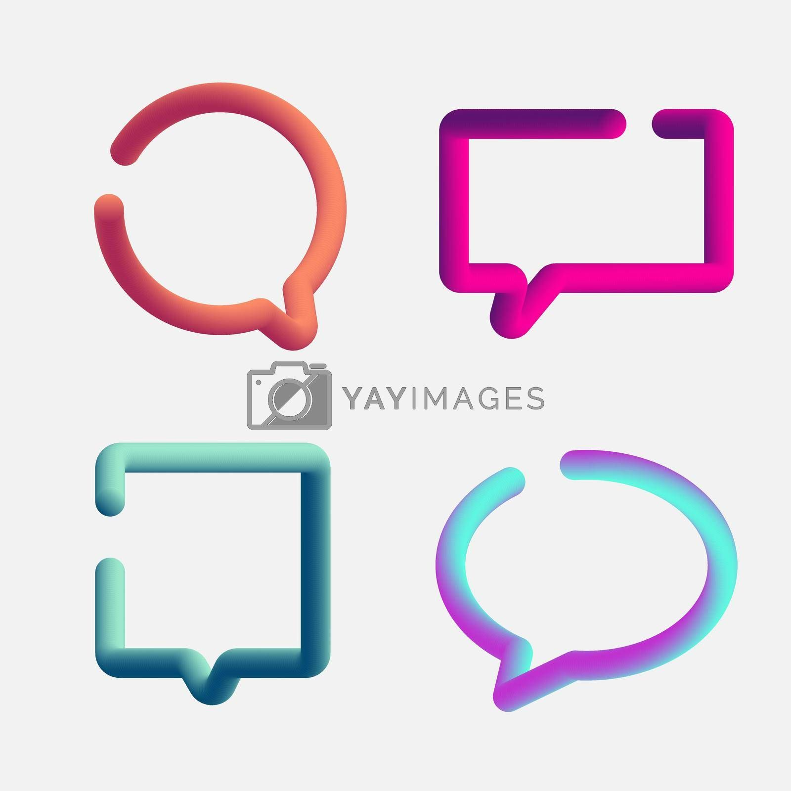 Royalty free image of Set of 3d speech bubbles contour fluid or liquid vibrant gradient color isolated on white background by phochi