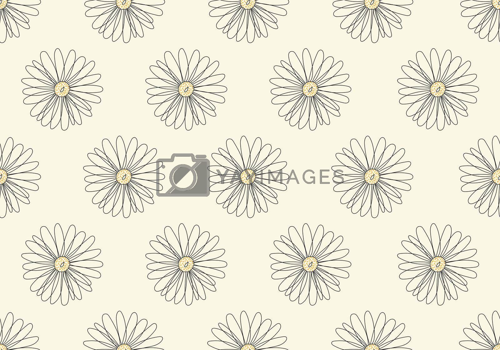 Royalty free image of Abstract seamless pattern hand drawn line flower isolated on white background by phochi
