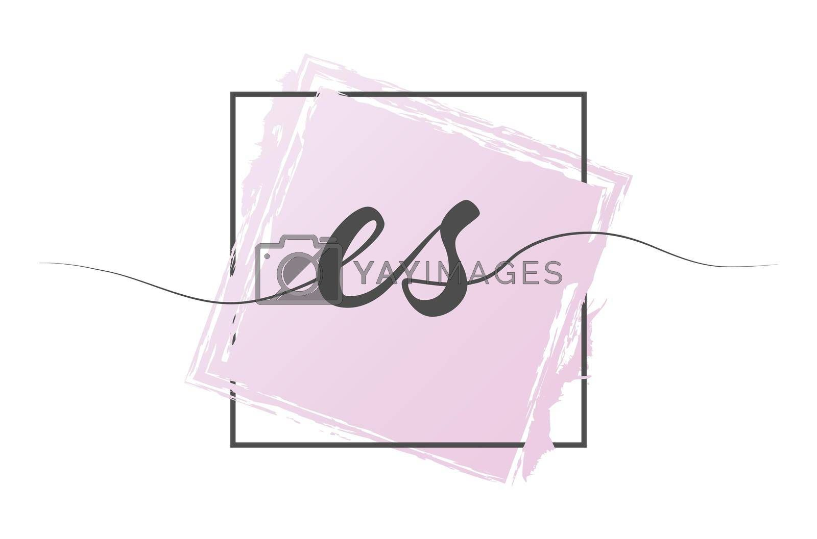 Calligraphic lowercase letters ES in a single line on a colored background in a frame. Vector illustration. Simple Style
