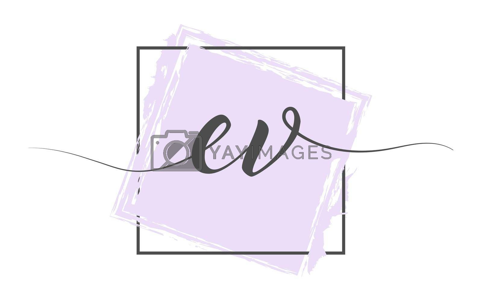 Calligraphic lowercase letters EV in a single line on a colored background in a frame. Vector illustration. Simple Style