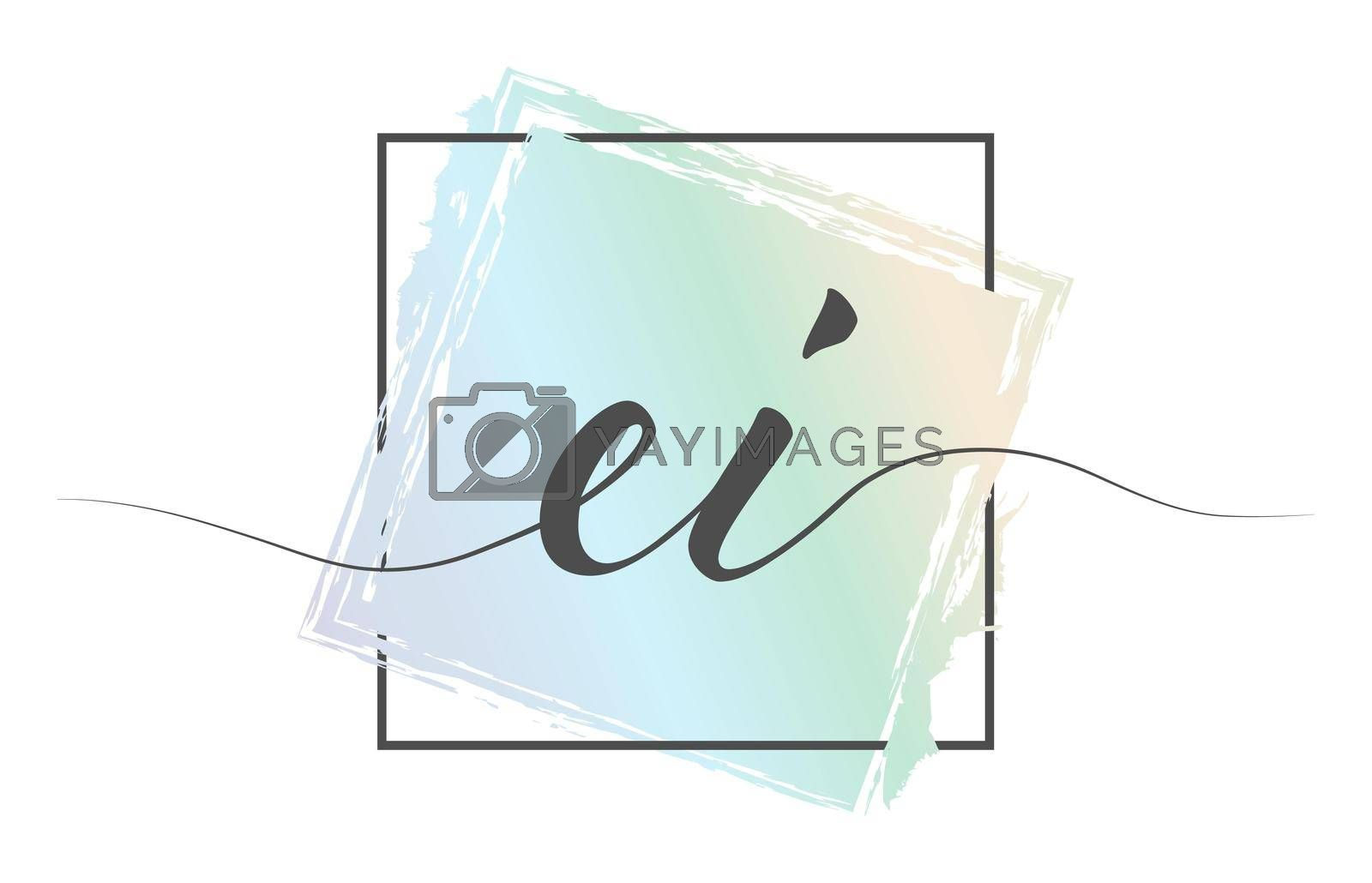 Calligraphic lowercase letters EI in a single line on a colored background in a frame. Vector illustration. Simple Style