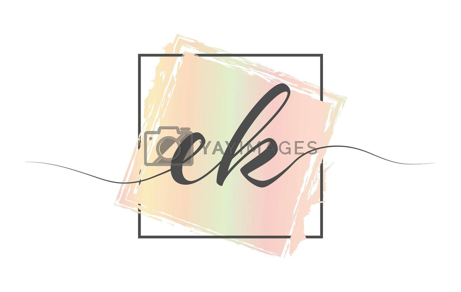 Calligraphic lowercase letters EK in a single line on a colored background in a frame. Vector illustration. Simple Style