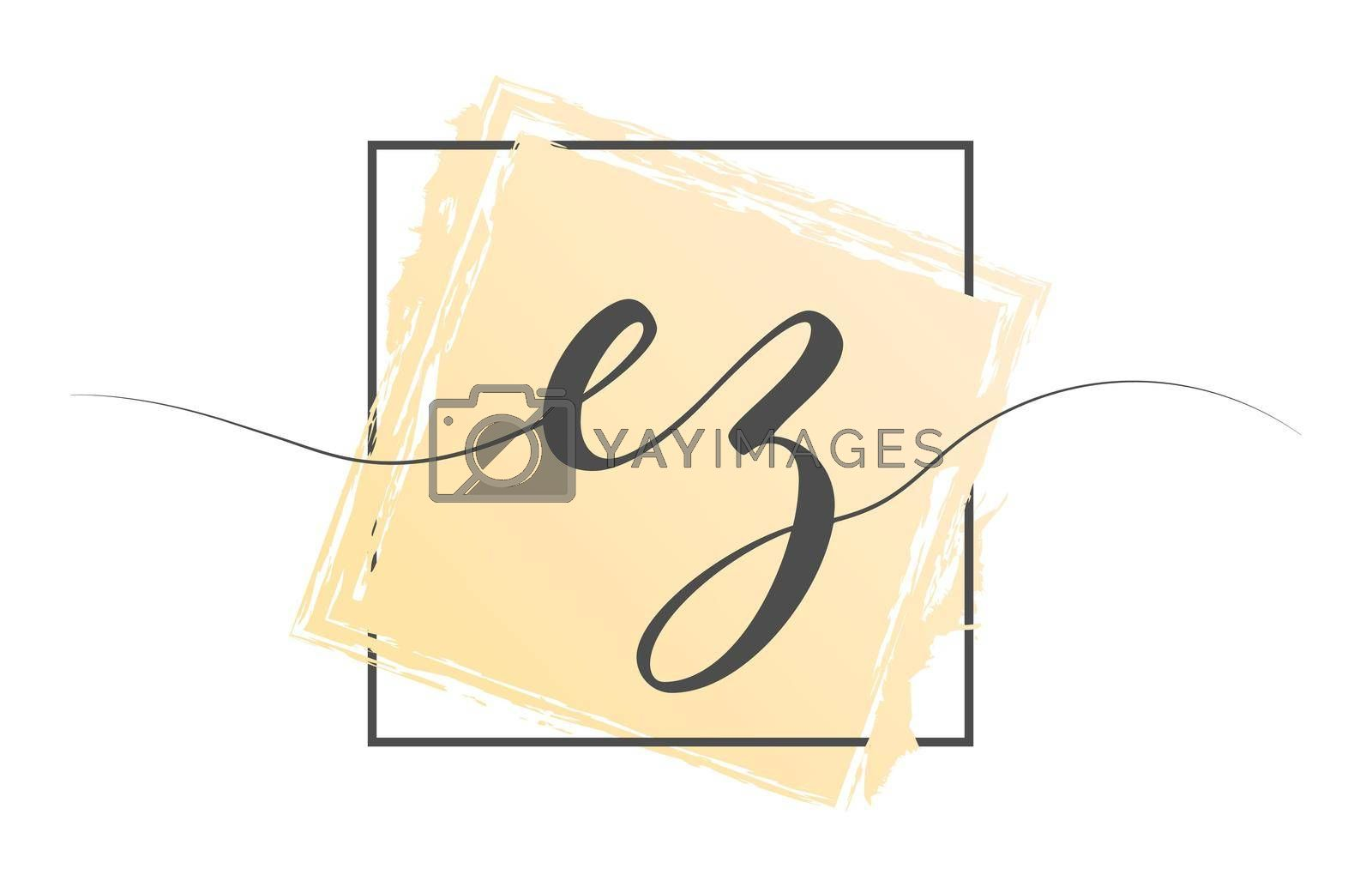 Calligraphic lowercase letters EZ in a single line on a colored background in a frame. Vector illustration. Simple Style