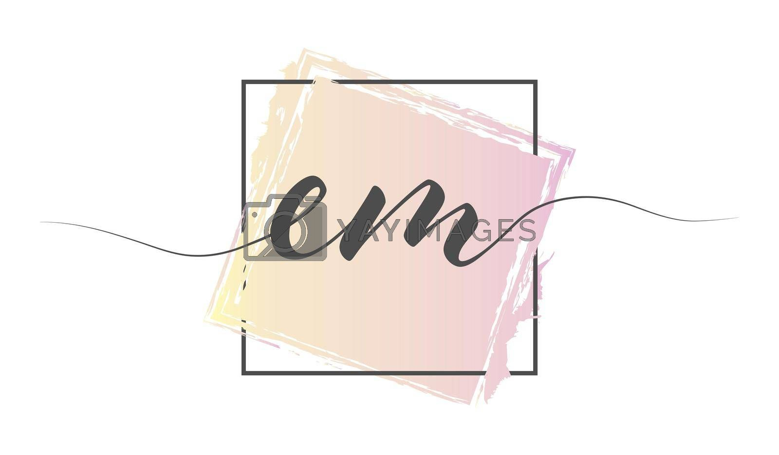 Calligraphic lowercase letters EM in a single line on a colored background in a frame. Vector illustration. Simple Style