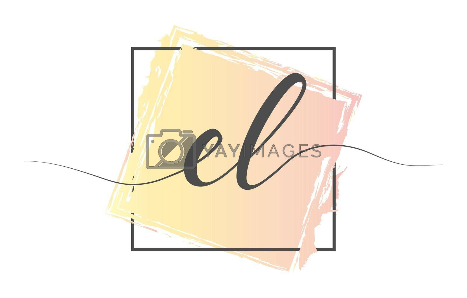 Calligraphic lowercase letters EL in a single line on a colored background in a frame. Vector illustration. Simple Style