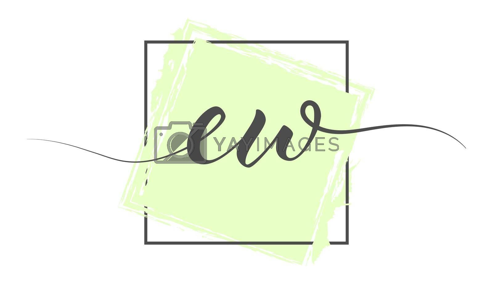 Calligraphic lowercase letters EW in a single line on a colored background in a frame. Vector illustration. Simple Style