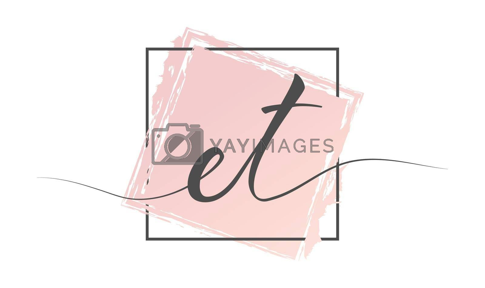 Calligraphic lowercase letters ET in a single line on a colored background in a frame. Vector illustration. Simple Style