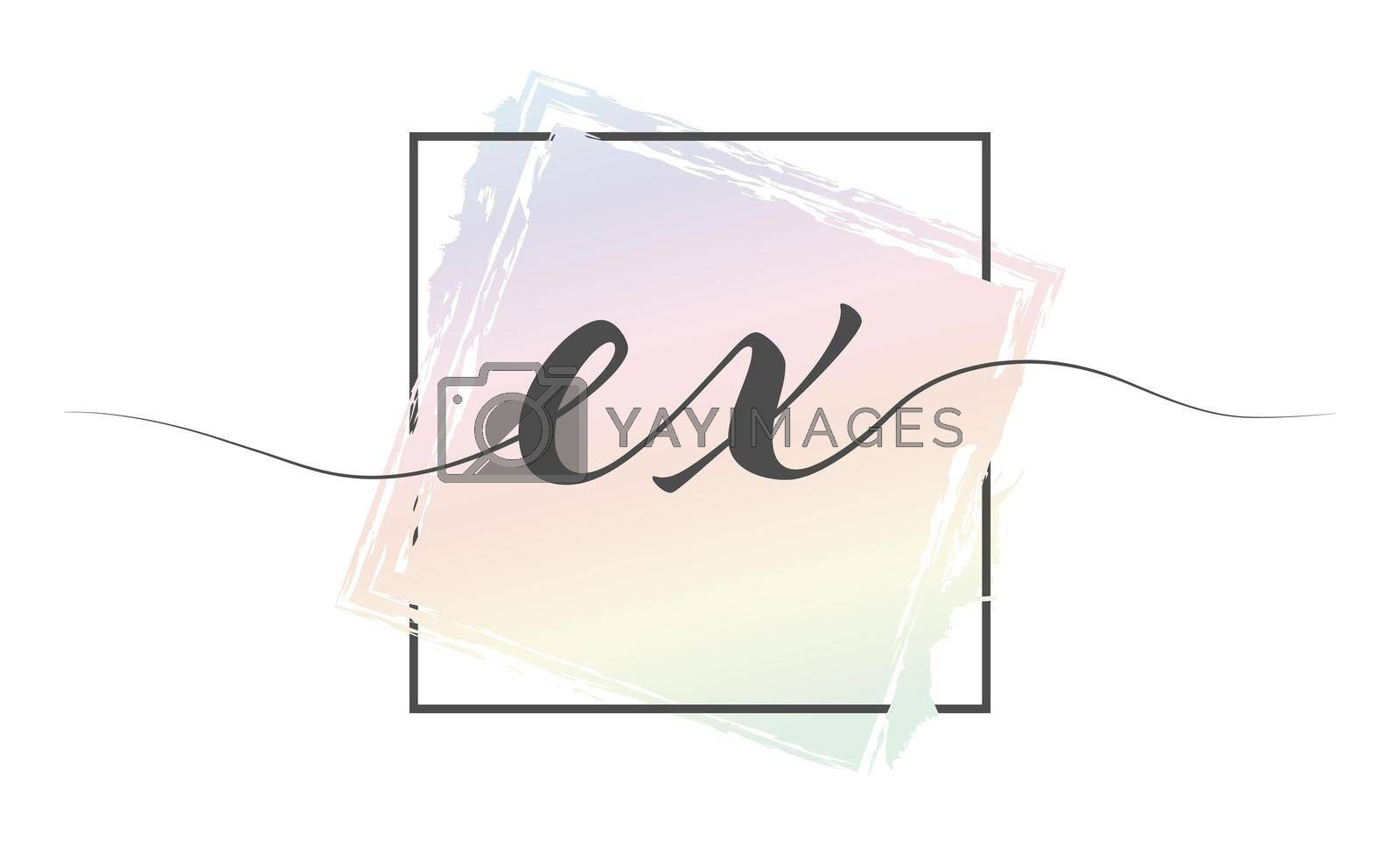 Calligraphic lowercase letters EX in a single line on a colored background in a frame. Vector illustration. Simple Style